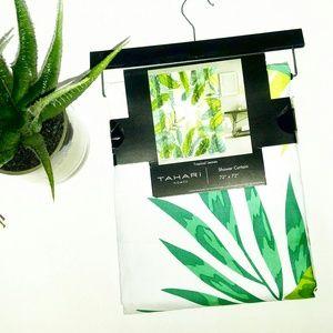 💎NEW Tahari Green Tropical Fabric Shower Curtain